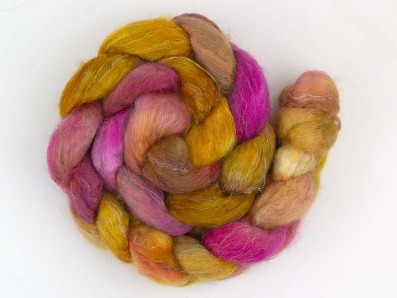 125g roving bfl silk flax